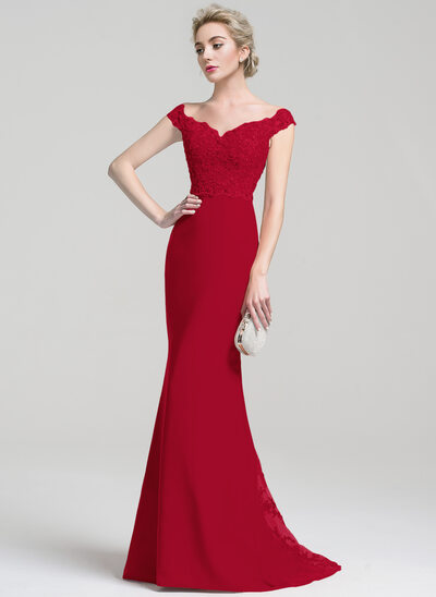 Trumpet/Mermaid Off-the-Shoulder Sweep Train Chiffon Lace Prom Dresses With Beading Sequins