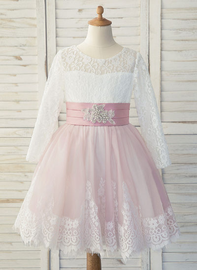 A-Line Knee-length Flower Girl Dress - Satin/Tulle/Lace Long Sleeves Scoop Neck With Rhinestone
