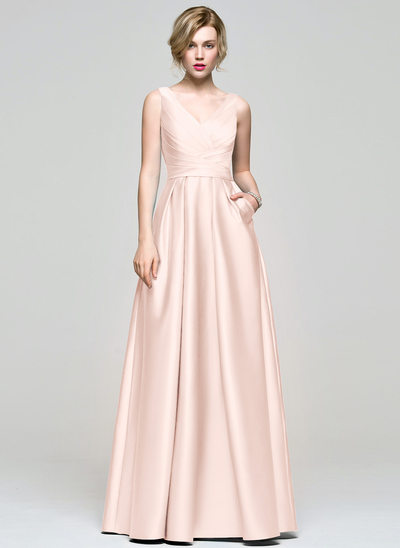 A-Line/Princess V-neck Floor-Length Satin Prom Dresses With Ruffle Pockets