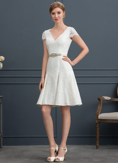 A-Line V-neck Knee-Length Lace Wedding Dress With Beading