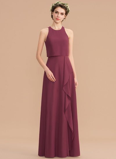 927af3b11ae5 A-Line Scoop Neck Floor-Length Chiffon Bridesmaid Dress With Cascading  Ruffles New