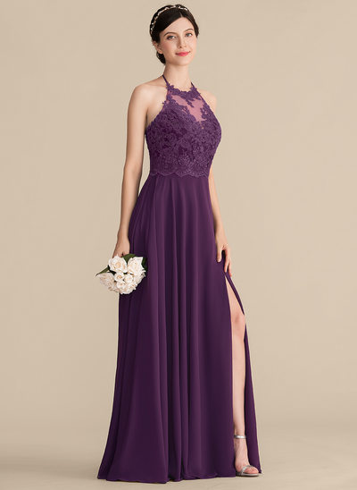 A-Line/Princess Halter Floor-Length Chiffon Lace Prom Dresses With Bow(s) Split Front