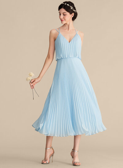 A-Line/Princess V-neck Tea-Length Chiffon Prom Dresses With Pleated