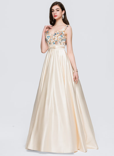 Ball-Gown V-neck Floor-Length Satin Prom Dresses With Lace Beading Bow(s)