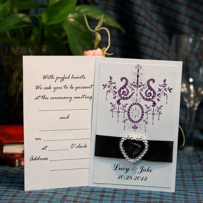 Personalized Floral Style Flat Card Invitation Cards With Ribbons
