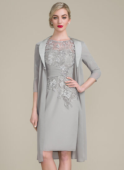 Sheath/Column Scoop Neck Knee-Length Chiffon Lace Mother of the Bride Dress With Ruffle Beading