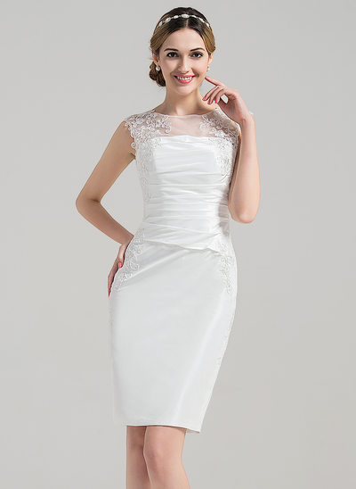 Sheath/Column Illusion Knee-Length Satin Wedding Dress With Ruffle Appliques Lace