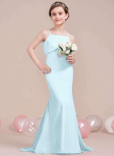 Trumpet/Mermaid Square Neckline Sweep Train Chiffon Junior Bridesmaid Dress With Cascading Ruffles