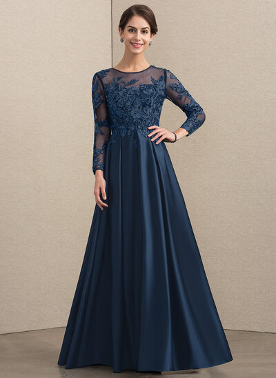 A-Line Scoop Neck Floor-Length Satin Lace Evening Dress With Beading