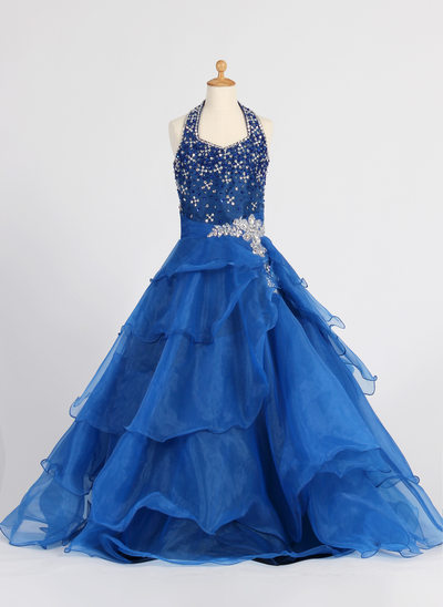 A-Line/Princess Floor-length Flower Girl Dress - Organza Sleeveless Halter With Ruffles/Sequins/Rhinestone
