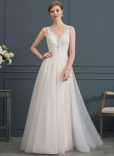 A-Line/Princess V-neck Floor-Length Tulle Wedding Dress With Beading
