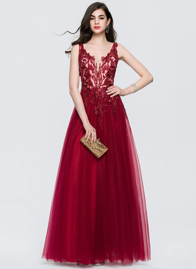 A-Line/Princess V-neck Floor-Length Tulle Prom Dresses With Lace Sequins
