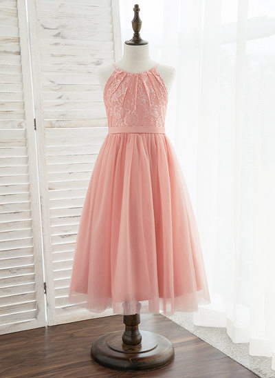 A-Line Tea-length Flower Girl Dress - Tulle/Lace Sleeveless Scoop Neck