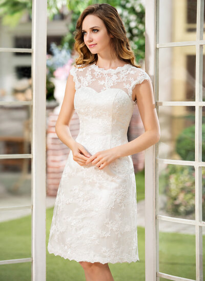 A-Line/Princess Scoop Neck Knee-Length Lace Wedding Dress