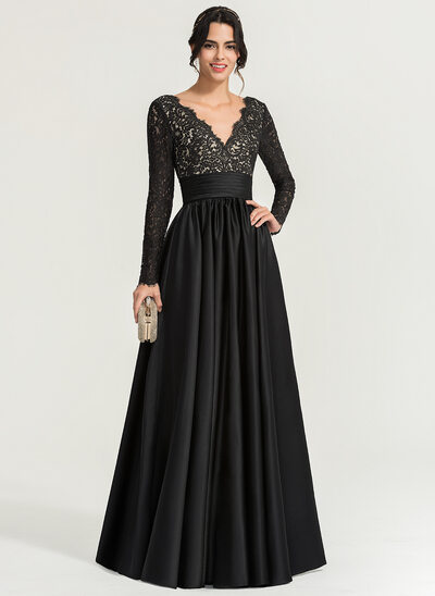 A-Line/Princess V-neck Floor-Length Satin Evening Dress
