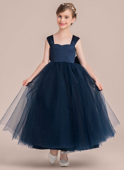 Ball-Gown Sweetheart Ankle-Length Tulle Junior Bridesmaid Dress With Bow(s)