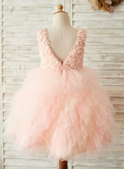 A-Line/Princess Knee-length Flower Girl Dress - Tulle/Lace Sleeveless Scoop Neck With V Back