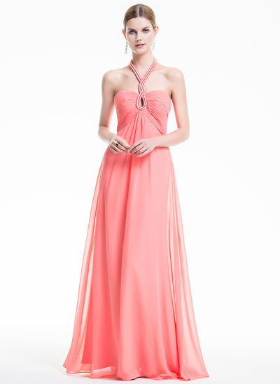 Empire Halter Floor-Length Chiffon Holiday Dress With Ruffle