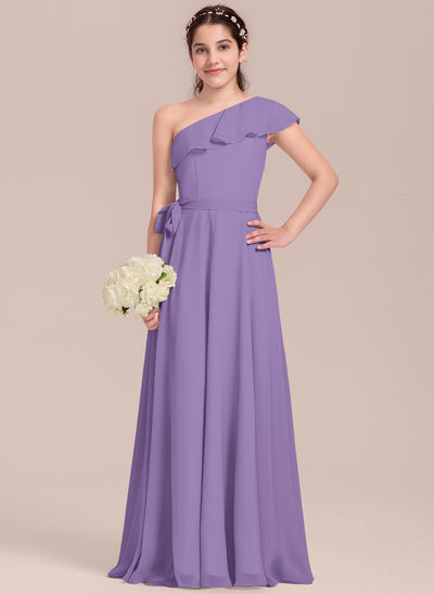 A-Line/Princess One-Shoulder Floor-Length Chiffon Junior Bridesmaid Dress With Cascading Ruffles