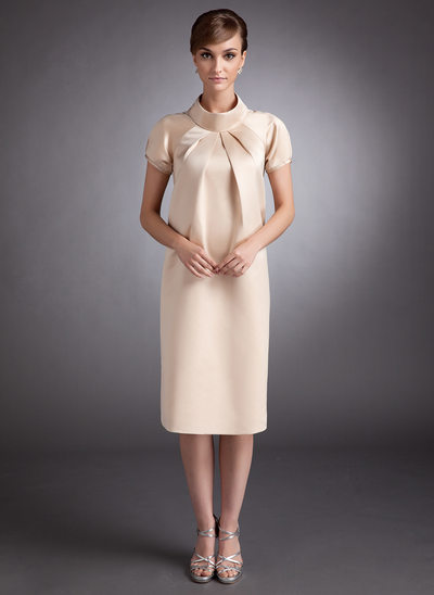 A-Line/Princess High Neck Knee-Length Satin Maternity Bridesmaid Dress With Ruffle