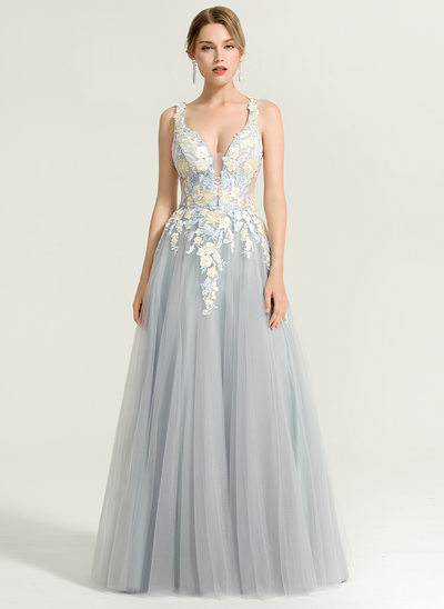 A-Line/Princess V-neck Floor-Length Tulle Evening Dress