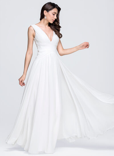 A-Line/Princess V-neck Floor-Length Chiffon Wedding Dress With Ruffle