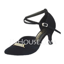 Women's Nubuck Heels Pumps Ballroom With Ankle Strap Dance Shoes (053013024)