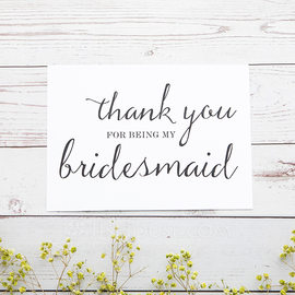 Bridesmaid Gifts - Classic Elegant Paper Wedding Day Card (256176218)