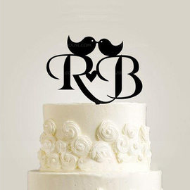 Personalized Bride & Groom's Initials Acrylic/Wood Cake Topper (119187798)