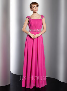 A-Line/Princess Scoop Neck Floor-Length Chiffon Holiday Dress With Ruffle Beading (020014751)