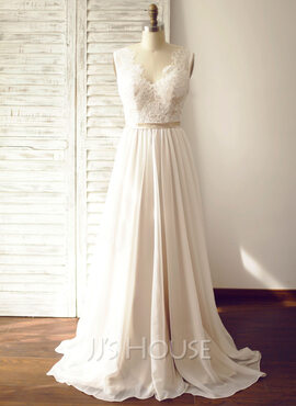 A-Line/Princess V-neck Court Train Chiffon Wedding Dress (002104627)