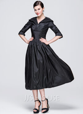 A-Line/Princess V-neck Tea-Length Taffeta Holiday Dress With Ruffle (020036602)