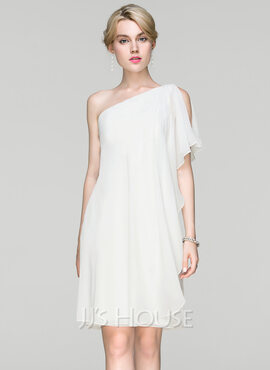 Sheath/Column One-Shoulder Knee-Length Chiffon Cocktail Dress With Ruffle (016094382)