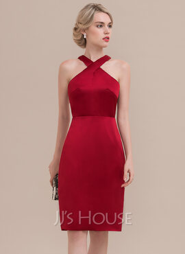 Sheath/Column Knee-Length Satin Cocktail Dress (016108748)