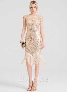 Sheath/Column Scoop Neck Knee-Length Sequined Cocktail Dress (016150195)