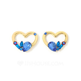 Ladies' Heart Shaped Crystal/Copper With Pear Crystal Earrings For Her