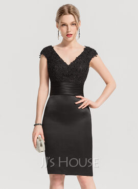 Sheath/Column V-neck Knee-Length Satin Cocktail Dress With Beading Appliques Lace Sequins (016154239)