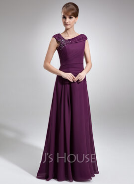 A-Line Off-the-Shoulder Floor-Length Chiffon Mother of the Bride Dress With Ruffle Beading (008006218)