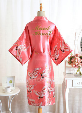 Non-personalized Polyester Bridesmaid Floral Robes Glitter Print Robes (248215859)