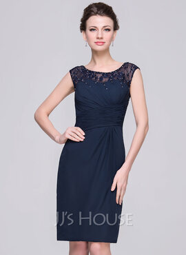 Sheath/Column Scoop Neck Knee-Length Chiffon Mother of the Bride Dress With Ruffle Lace Beading Sequins (008056833)