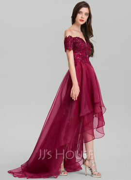 A-Line Off-the-Shoulder Asymmetrical Organza Evening Dress With Sequins (017116326)
