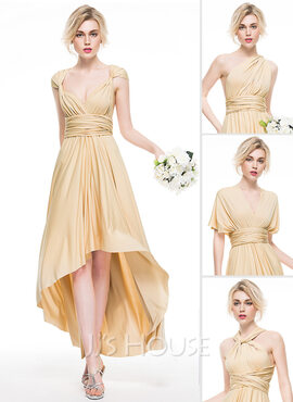 A-Line Asymmetrical Jersey Bridesmaid Dress