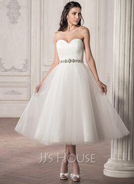 A-Line/Princess Sweetheart Tea-Length Tulle Wedding Dress With Ruffle Beading Sequins (002058769)