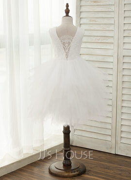 A-Line Knee-length Flower Girl Dress - Tulle/Lace Sleeveless Scoop Neck With Beading/V Back (010141202)