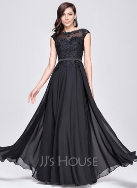 A-Line Scoop Neck Floor-Length Chiffon Evening Dress With Beading Appliques Lace Sequins (017064185)