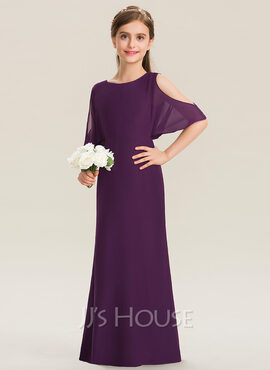 A-Line Scoop Neck Floor-Length Chiffon Junior Bridesmaid Dress (009173271)