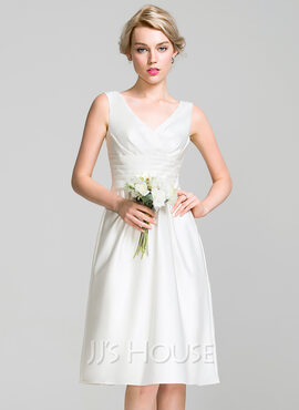 A-Line V-neck Knee-Length Satin Bridesmaid Dress With Ruffle