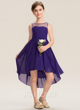 A-Line Scoop Neck Asymmetrical Chiffon Junior Bridesmaid Dress With Ruffle (009173301)