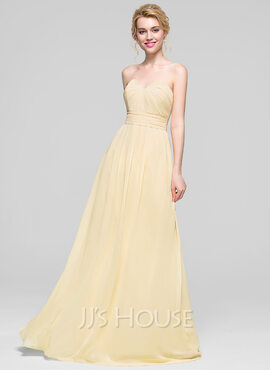 A-Line/Princess Sweetheart Floor-Length Chiffon Bridesmaid Dress With Ruffle (007090151)