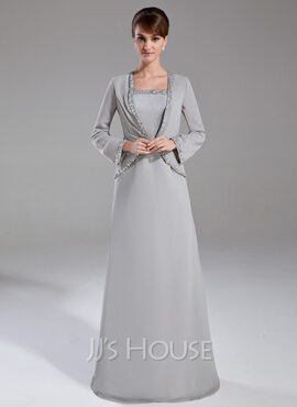 Sheath/Column Square Neckline Floor-Length Chiffon Mother of the Bride Dress With Beading Sequins (008006178)